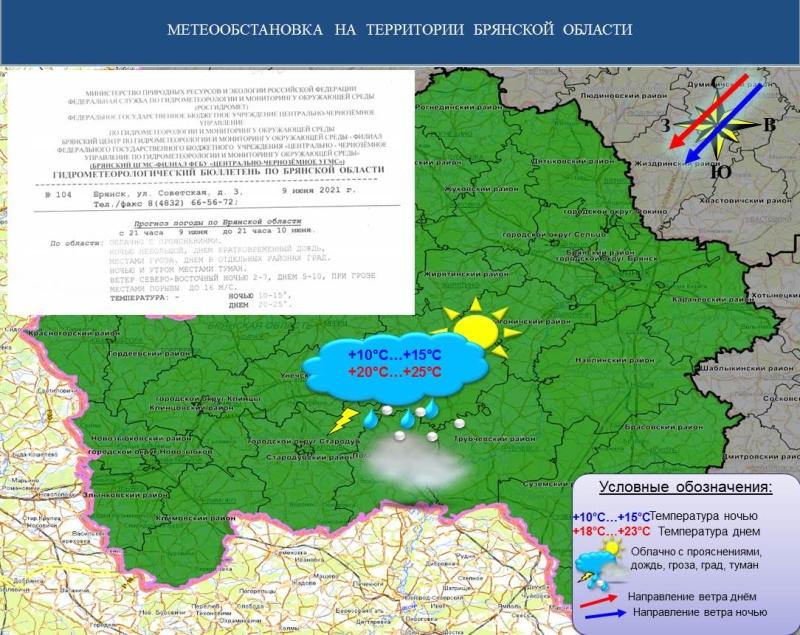 ГУ МЧС России по Брянской области предупреждает о неблагоприятных погодных условиях 10 июня!