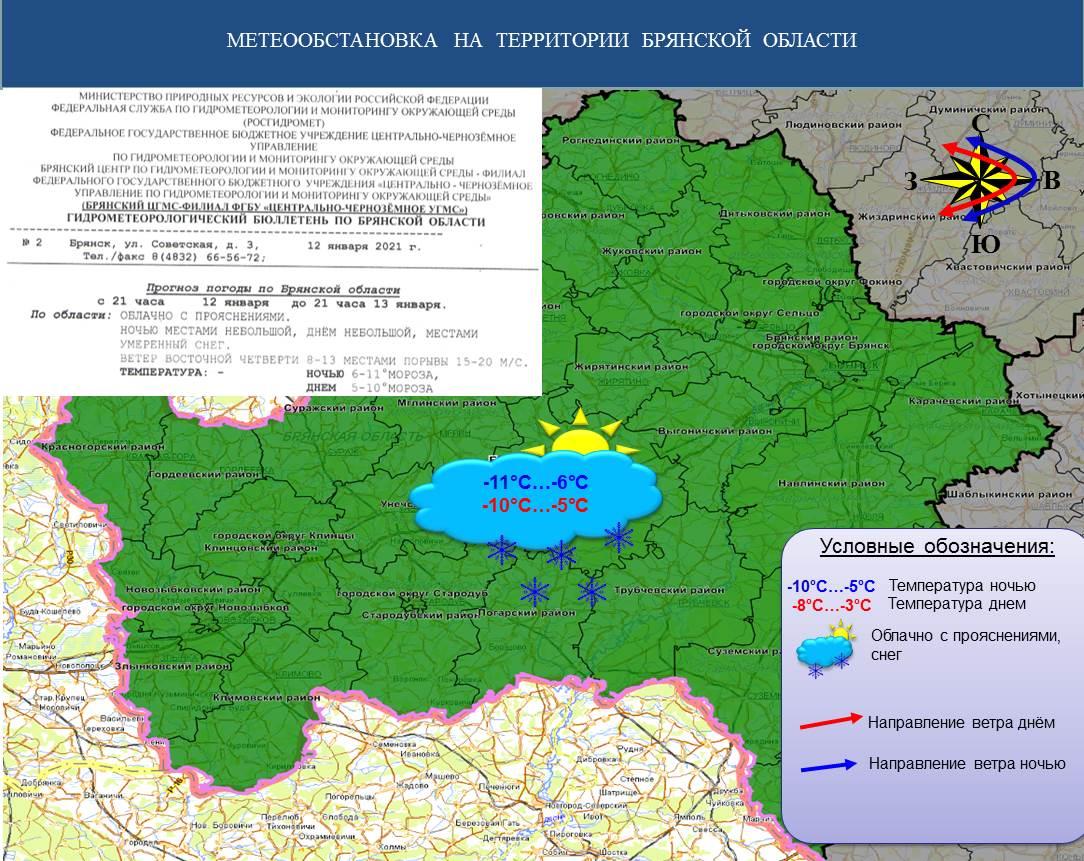 Прогноз на 13.01.2021 - Оперативная информация - Главное управление МЧС России по Брянской области